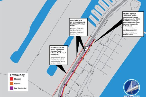 US 181 Closure & Detours Map   April 2018