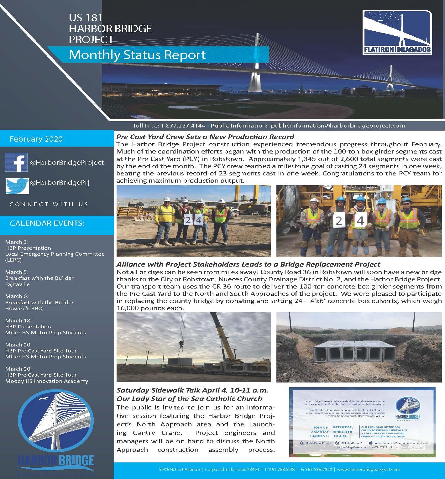 February 2020 Monthly Status Report