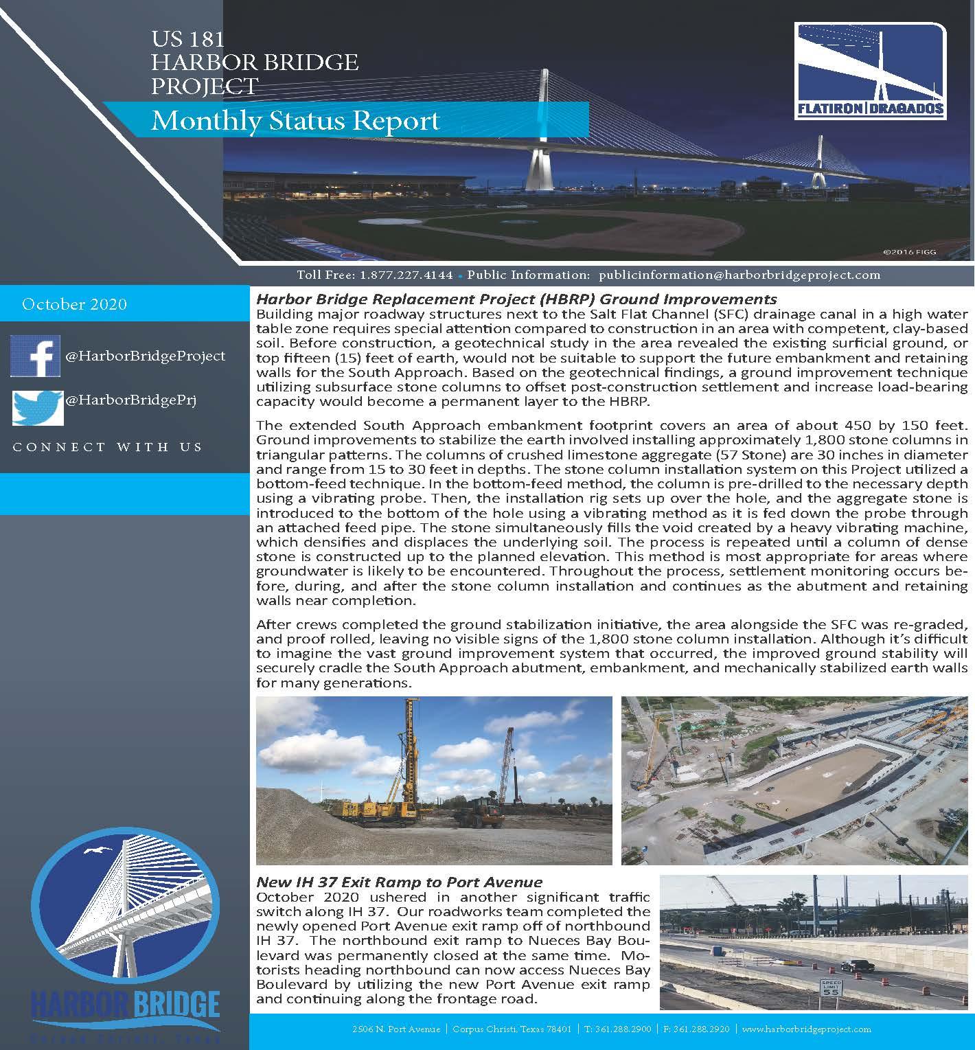 October 2020 Monthly Status Report