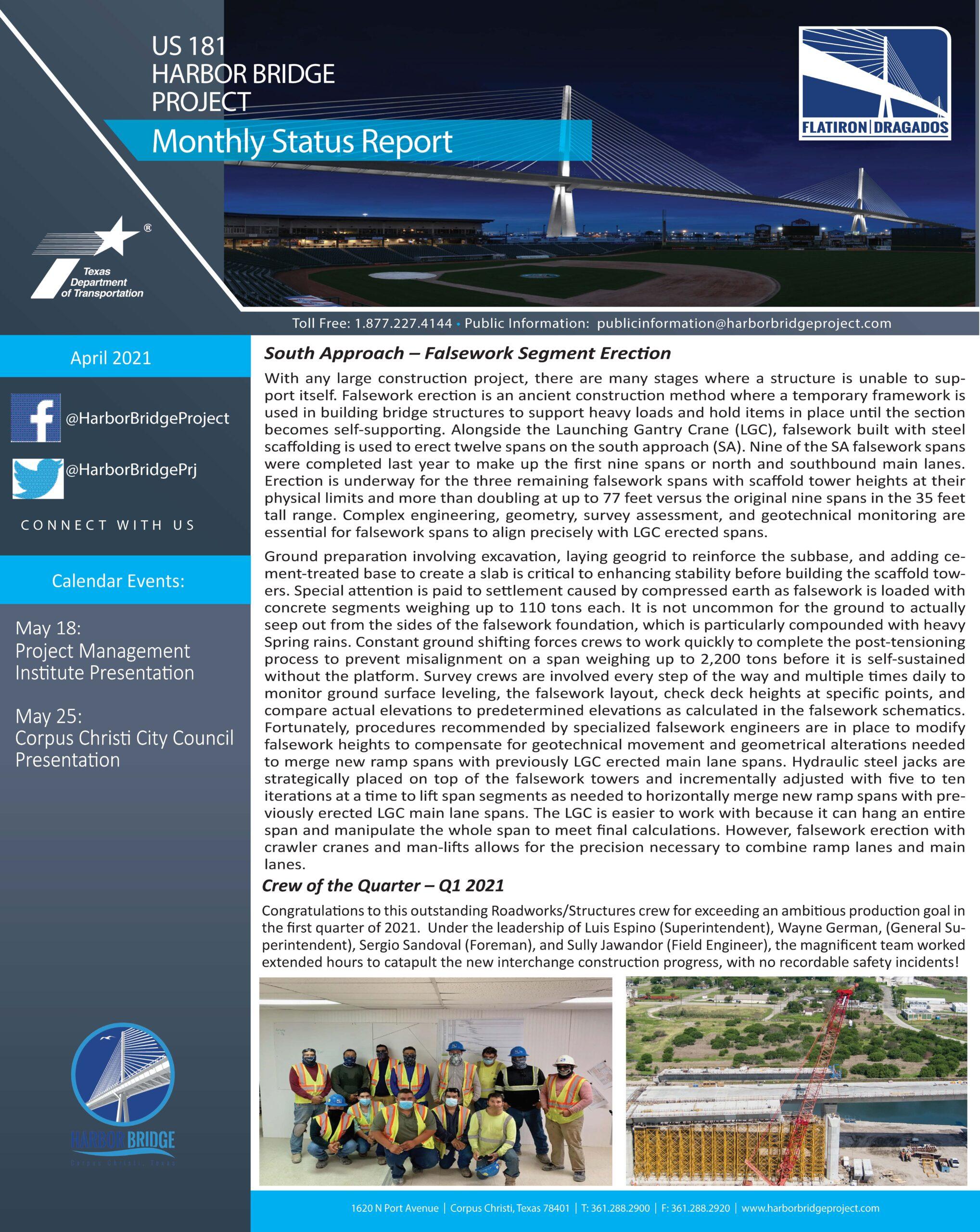 April2021 Monthly Status Report
